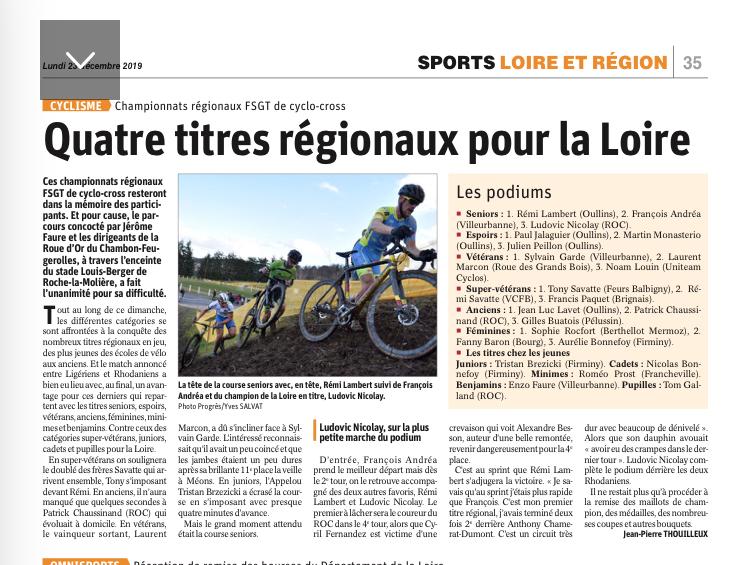 Cyclo cross 2019 4 titres regionaux pour la loire